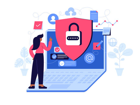 Privacy policy concept. Account access, data protection, cloud storage