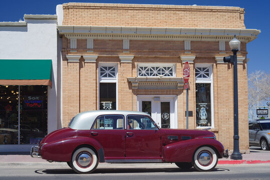 Williams, AZ, USA - April 14, 2021: image of a 1940 Sixty Special Cadillac shown parked.