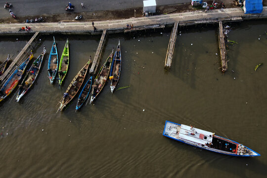 Boats on the river. Shoot from DJI Mavic Mini