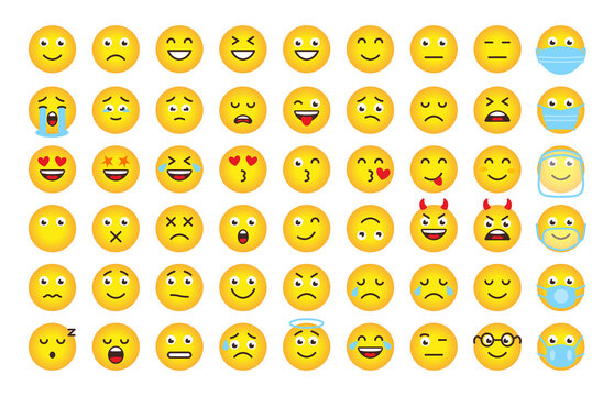 Funny cartoon emoji of yellow gradient. Mood or facial emotion symbol for digital chat app objects. Faces expressing crazy,funny, sad, angry. Emoticons in mask. Isolated on white vector illustration