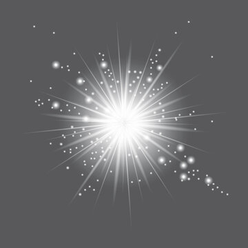 Lights flash gray background. Bright star. Sun texture. Glare texture. Vector illustration. Stock image. EPS 10.