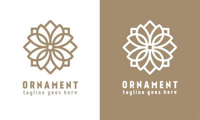 Luxury floral ornament vector logo template. symmetrical line art logo type. monogram design Fototapete