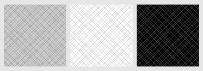 Diagonal checkered pattern seamless, set of tartan fabric texture background - Vector