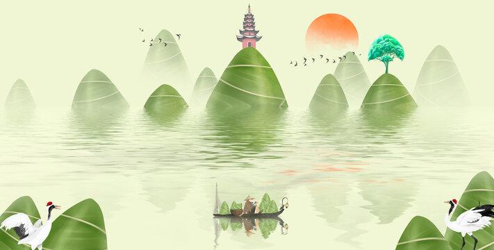 Dragon Boat Festival illustration big zongzi landscape