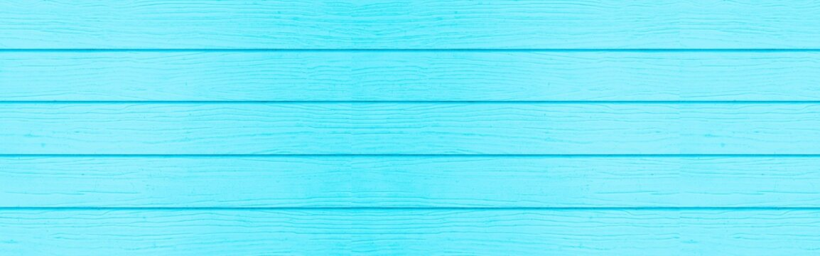 Panorama of New blue vintage wooden wall texture and background seamless or a blue wooden fence
