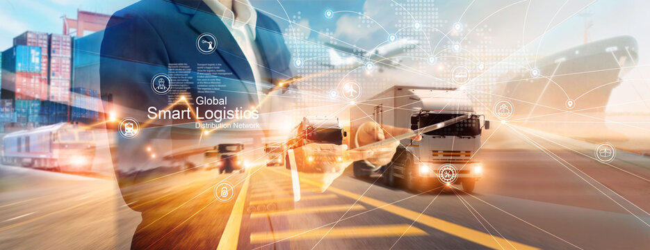 Smart logistics and transportation. Businessman use tablet and analyzing on logistic global network distribution on world map background. Technology. Business of transport and industrial.