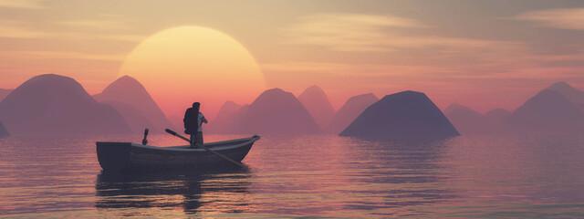 Fototapeta Boat lake sunset