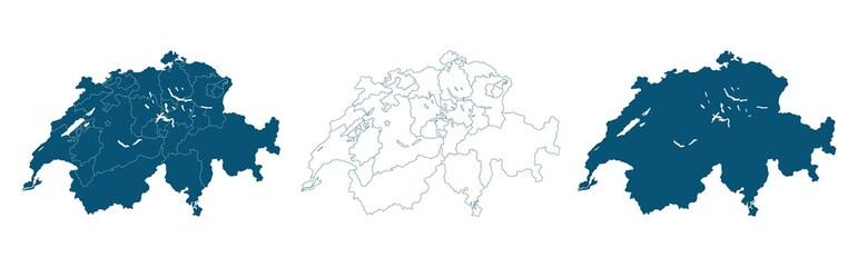 Switzerland Vector Map Regions Isolated on white