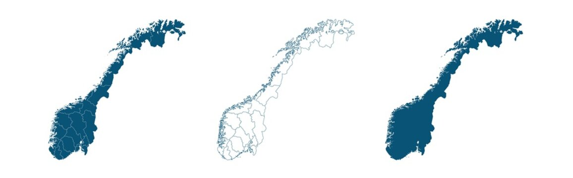 Geographical map of Norway isolated on white background