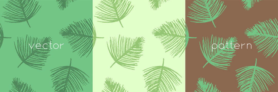 Tropical background with palm leaves ornament. Vector seamless pattern design. Floral graphics concept for tropical spa, beauty studio banner, botanical fabric backdrop, green tropical leaf pattern.