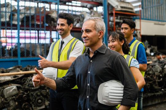 Team engineering worker technician, workshop manufacturing, Teamwork in industry factory.