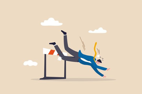 Business failure, mistake or cannot overcome difficulty or obstacle, problem or underperform employee concept, frustrated businessman loser fail to jump over hurdle and falling to the ground.
