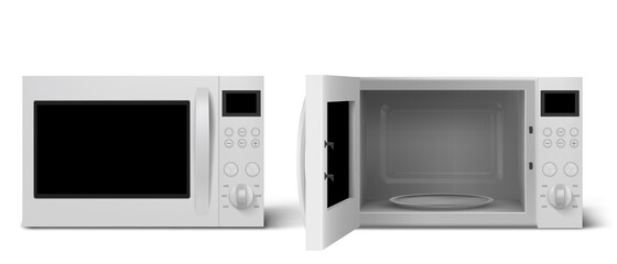 Fototapeta Modern microwave oven with open and closed door. Kitchen electric appliance for cooking and defrost food. Vector realistic 3d empty white microwave oven with display, buttons and glass plate obraz