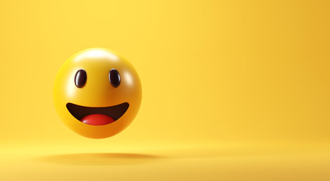 A smiling face emoji with smiling eyes on yellow background - emoticon showing a true sense of happiness, copy space, 3d render.