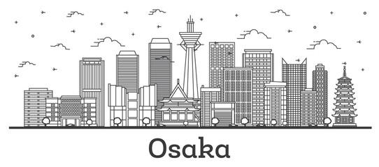 Fototapeta Outline Osaka Japan City Skyline with Modern Buildings Isolated on White. obraz
