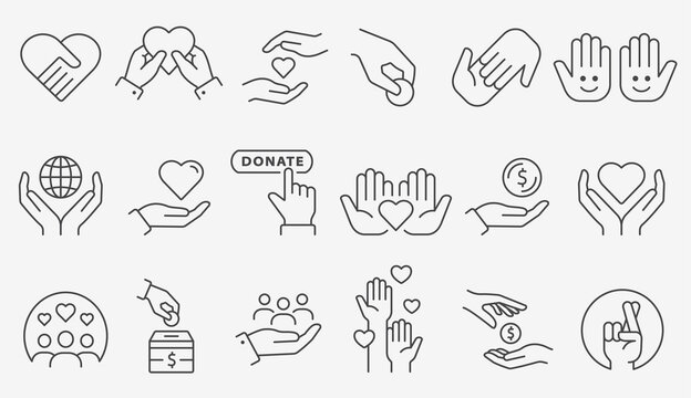 Charity icon set. Collection of donate, volunteer, care and more. Editable stroke.