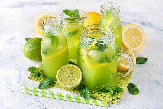 Mint lemonade with lemon and lime