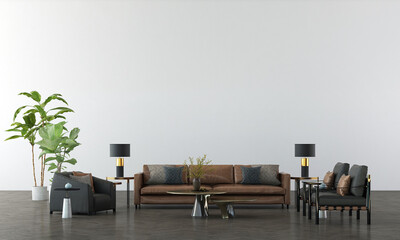 Obraz Modern interior mock up furniture and decoration of minimal living room design and white pattern wall texture background 3d rendering - fototapety do salonu