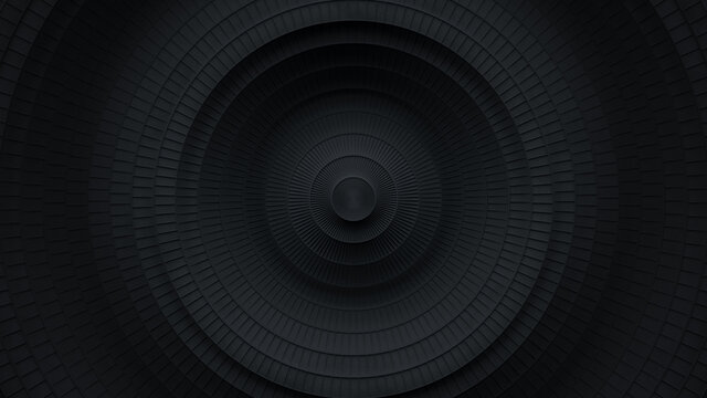 Black circles with ripple effect 3D render