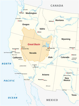 Vector map of the Great Basin in the western United States