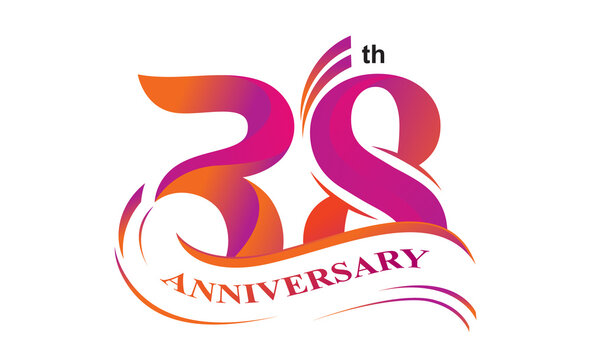 38 th anniversary logo vector design with gradient color