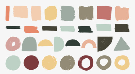 Set of hand drawn organic textured shapes