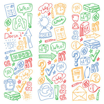 English language. Online education. E-learning. English courses. Grammar and alphabet.