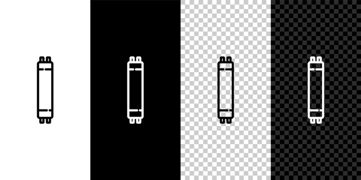 Set line Long luminescence fluorescent energy saving lamp icon isolated on black and white background. Vector