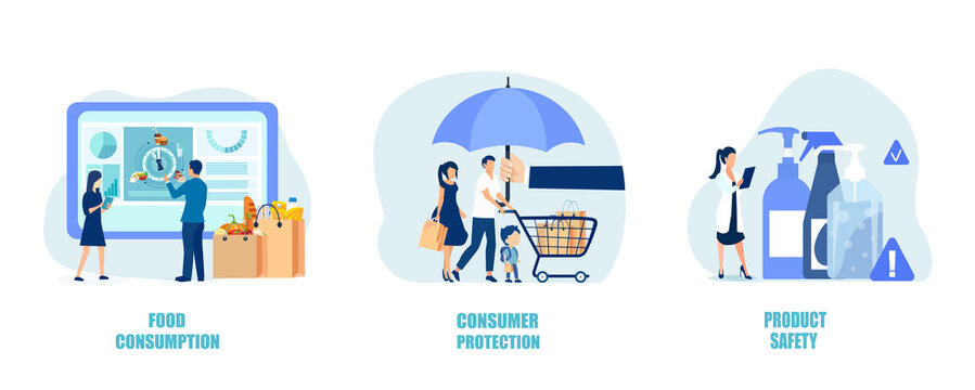 Vector of shoppers being protected shopping safely