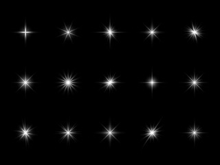 Fototapeta White starburst sparks. Effect light different forms, bright optical flare with rays, glowing dust particles. Christmas or birthday shimmer festive decor vector realistic isolated set obraz