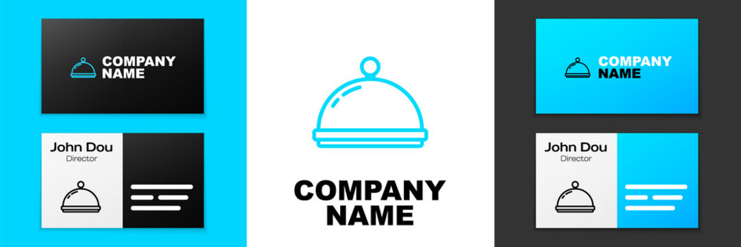 Blue line Covered with a tray of food icon isolated on white background. Tray and lid sign. Restaurant cloche with lid. Kitchenware symbol. Logo design template element. Vector