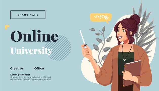 Landing page template for online courses, distance education, Internet studying, training. Yong female teacher having a lesson. Vector illustration