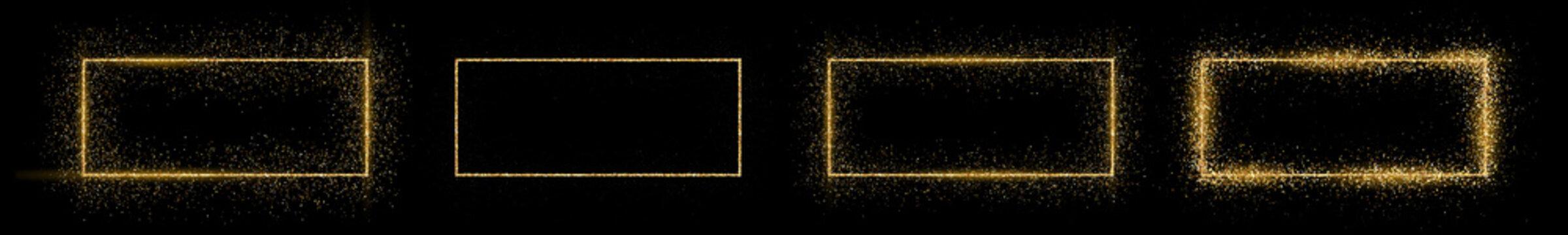 Golden rectangle frame with glitter