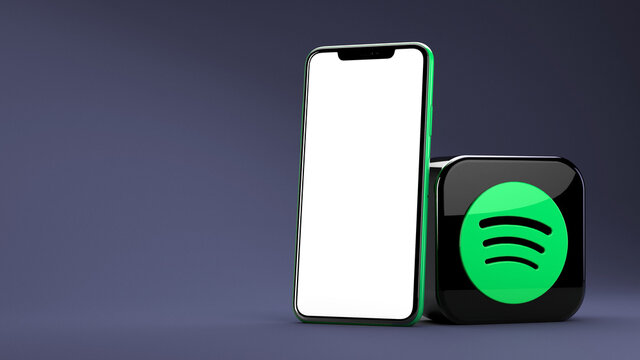 Valencia, Spain - April, 2021: Spotify app icon and phone with copy space for social media in 3D rendering. Spotify is one of the most popular music streaming services for mobile and desktop devices