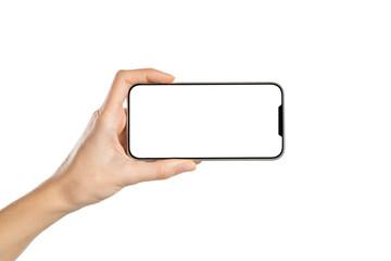 Fototapeta Woman hand showing phone empty screen obraz