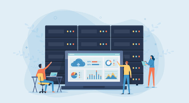 business technology cloud computing service concept and datacenter storage server connect on cloud with administrator and developer team working on dashboard monitor concept