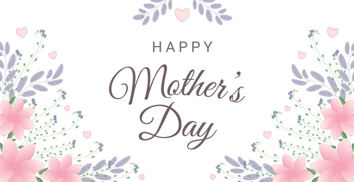 Happy mother's day greeting card with flowers and hearts. Perfect for greeting cards, websites, banners or tags.