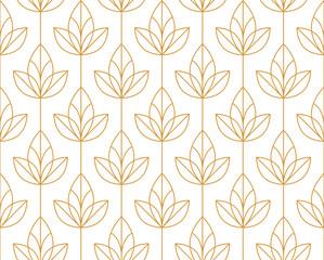 Fototapeta Flower geometric pattern. Seamless vector background. White and gold ornament