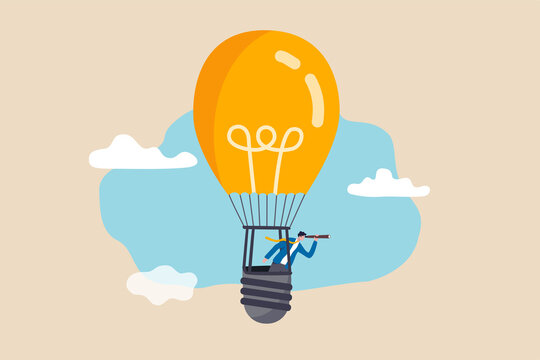 Search for new business opportunity, idea or inspiration, business visionary, challenge or achievement concept, businessman riding light bulb balloon using spyglass or telescope searching for vision.