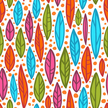 Vector positive seamless pattern with colorful leaves and orange bubbles. Bright autumn foliage ornament on white background. Stylized multicolor botanical illustration. Boho texture. Abstract willow.