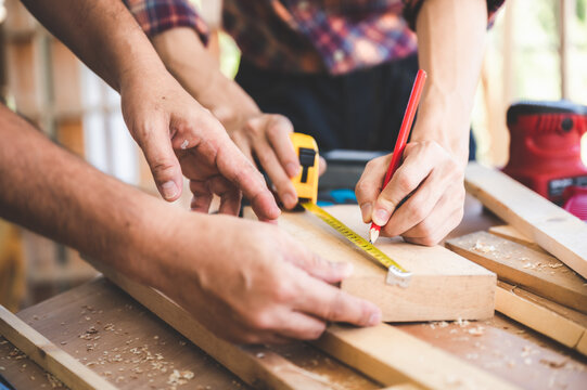 professional carpenters woodworking team work together creatively, creative carpenter working workshop for wooden craftman with wood