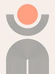 Obraz Abstract modern bohemian contemporary geometric minimal pattern art style. Wall line boho abstract shape arch - fototapety do salonu