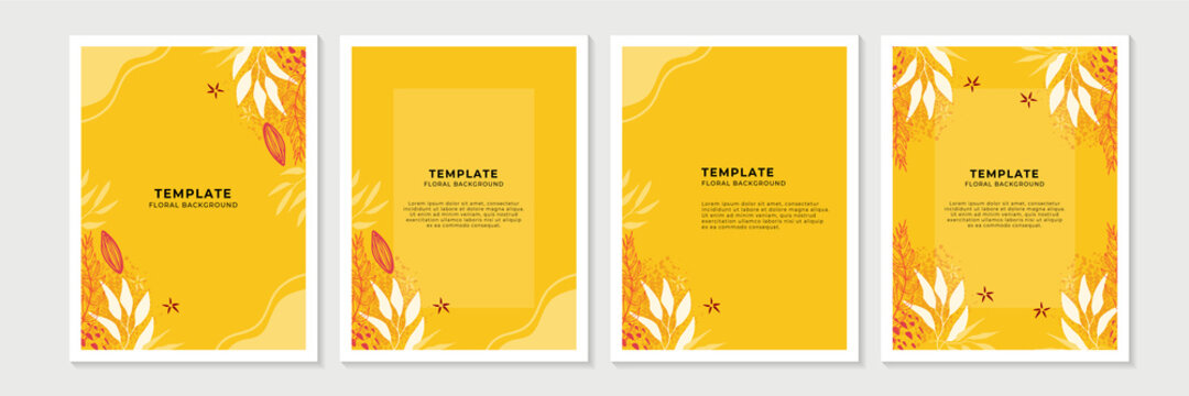 Social media stories, posts, highlights templates. Abstract floral vector backgrounds with copy space for text