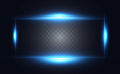 Fototapeta Vector light blue special effect. Glowing bright stripes on a transparent background. obraz