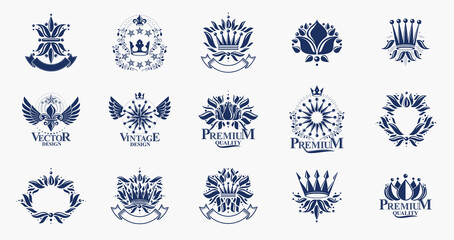 Fototapeta Classic style De Lis and crowns emblems big set, lily flower symbol ancient heraldic awards and labels collection, classical heraldry design elements, family or business emblems.
