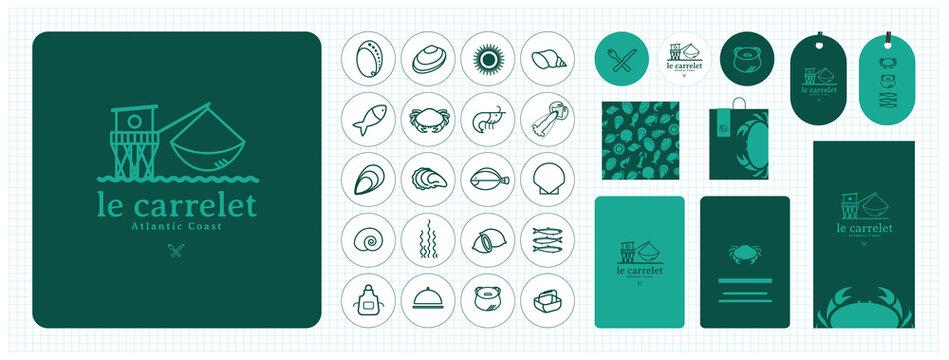 Logo pour restaurant, criée, poissonnerie, producteur, marché, grossiste de produits de la mer, vivier, poisson, coquillage, crustacés