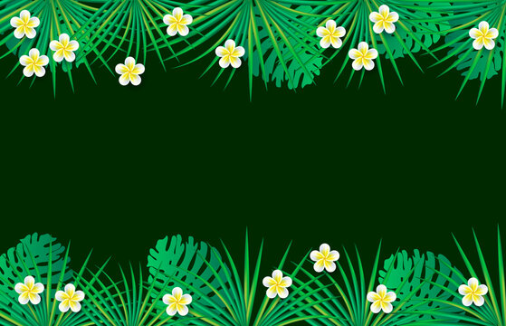 Palm leaves, monstera leaves, tropical necklace lei flowers. Green background with tropical frame. Summer background with green leaves and flowers