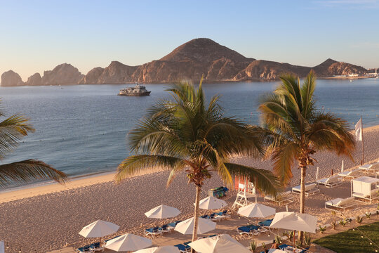 View across the bay to the cape of the bay of  Sea of Cortez in Los Cabos, Cabo San Lucas, Mexico