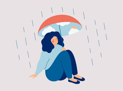 Inner world Concept.  Happy woman protects herself from the rain with an umbrella with a blue sky and sun. Mental health vector illustration