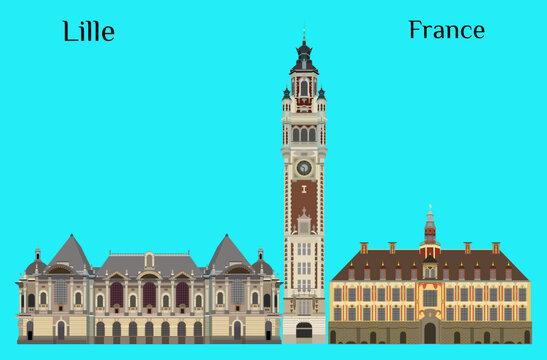 Lille, France Palais des Beaux-Arts de Lille Vieille Bourse de Lille Chambre de commerce de Lille